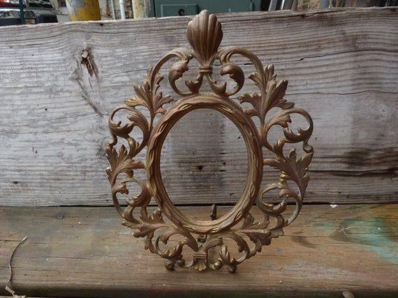 Vintage Oval Frame Ornate Gold Picture Frame Victorian Baroque Hollywood Regency Framing Supplies Products In 2019 Gold Picture Frames Oval Frame Framing Supplies