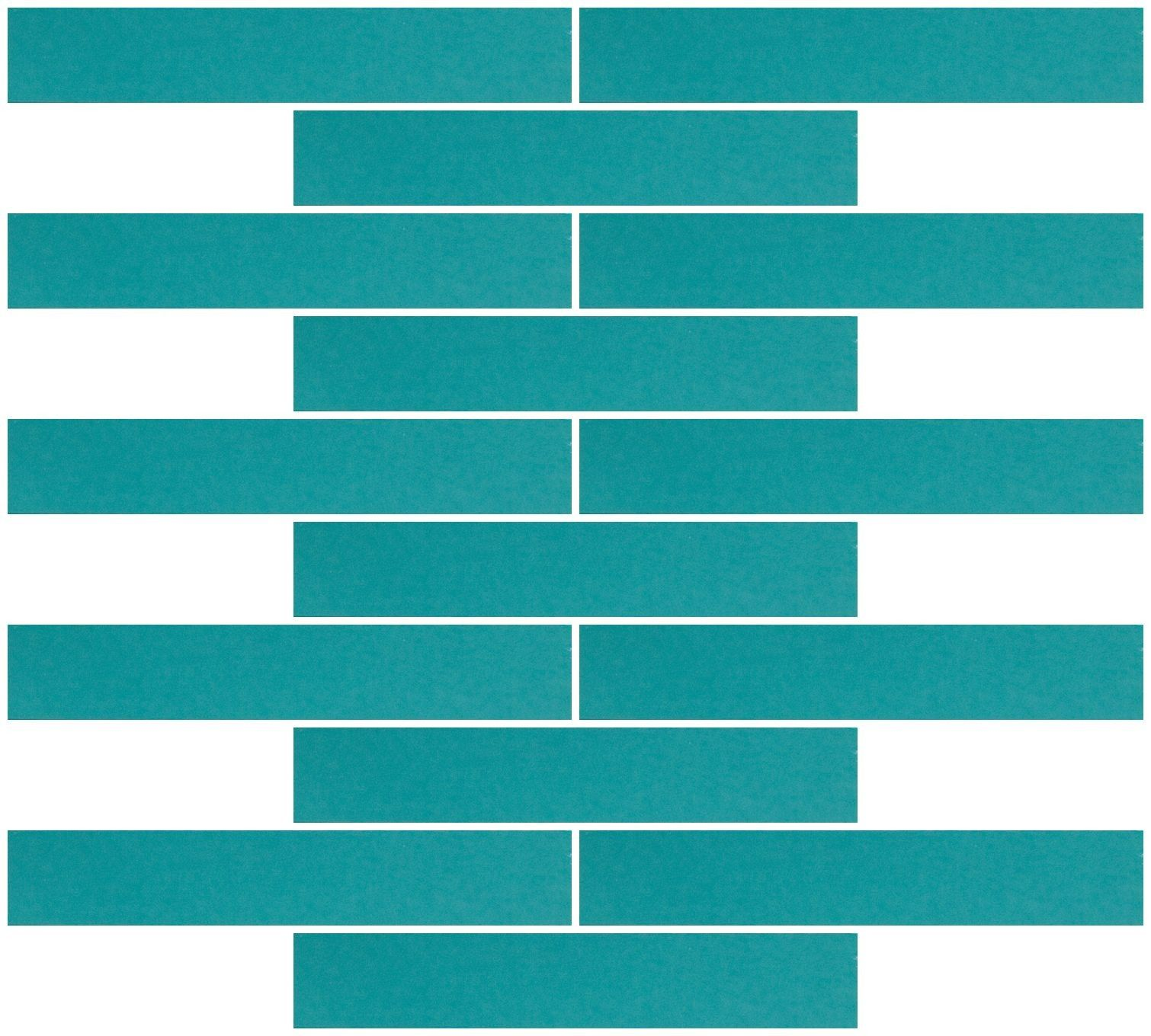 1x6 Inch Teal Blue Mirror Glass Subway Tile Reset In Running-brick ...