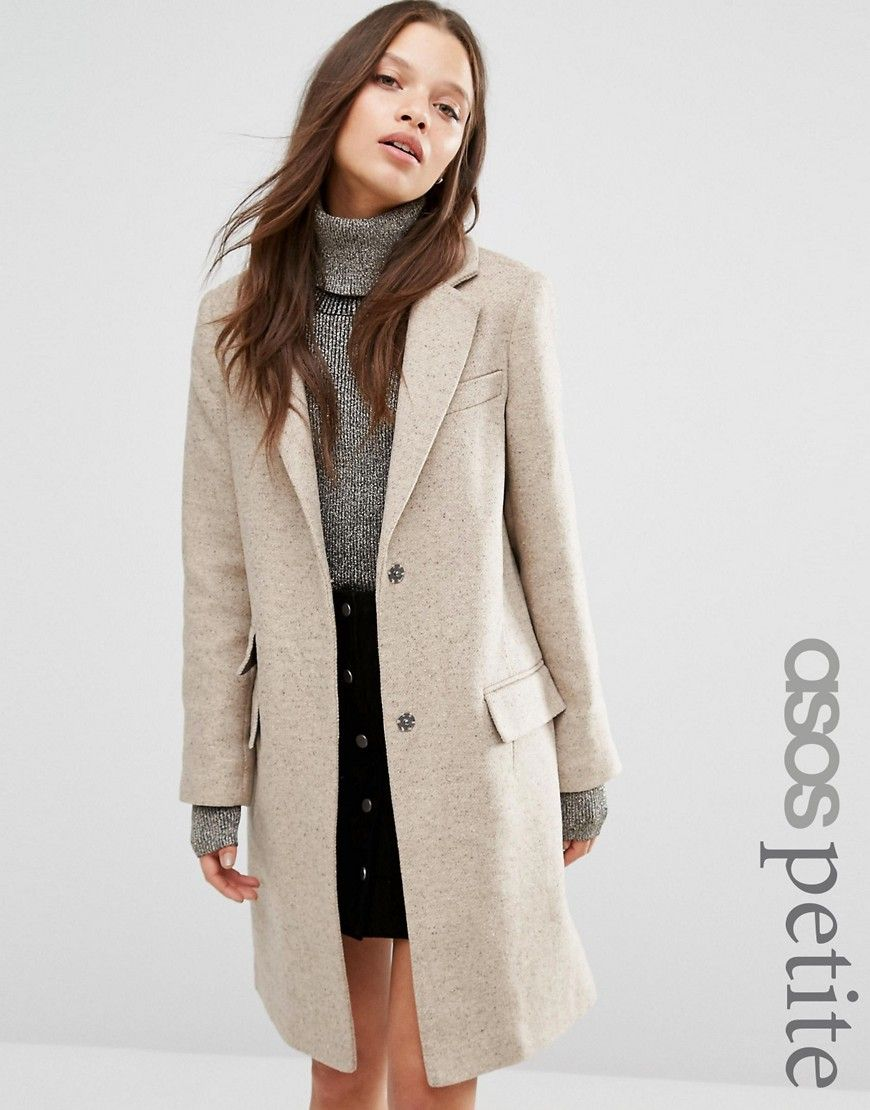 Image 1 of ASOS PETITE Wool Blend Slim Coat With Pocket Detail ...
