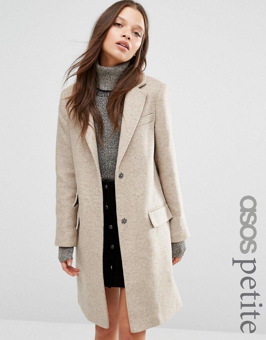 Asos Petite Wool Blend Slim Coat With Pocket Detail Petite Coat Petite Jacket Asos Petite [ 1110 x 870 Pixel ]