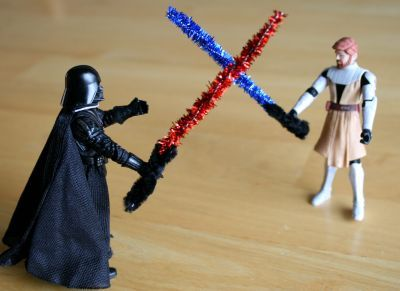 Pipe Cleaner ligthsabers. Great idea! They keep losing the lightsabers that came with their action figures.