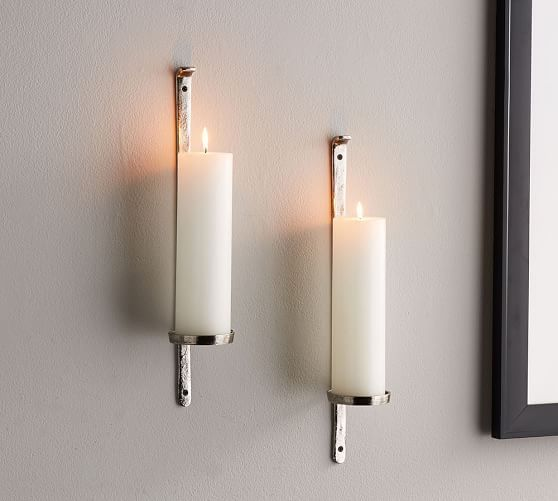 Artisanal Wall Mount Candleholder Silver Wall Candle Holders Glass Hurricane Candle Holder Silver Walls