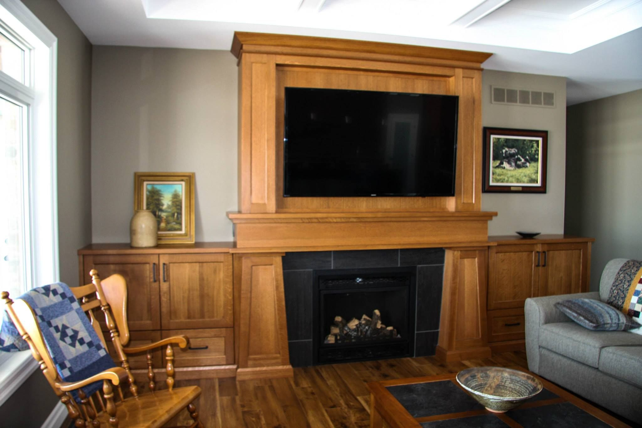 Custom Made Solid Wood Fireplace Surround With Tv Shadow Box