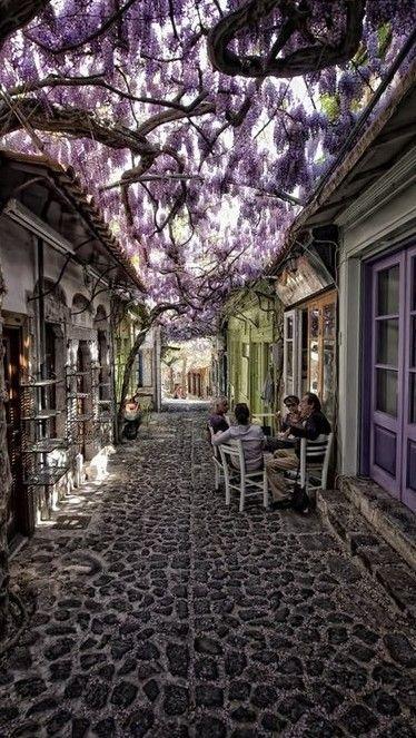 Quaint cobblestone street in the village of Molyvos on Lesvos in Greece • photo: Costas Stamatellis via Honey Katyal on Flickr