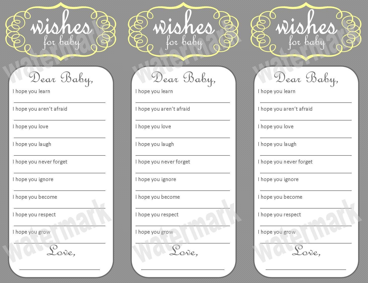 Wishes For Baby Free Printable | Wishes for Baby - Baby Shower ...