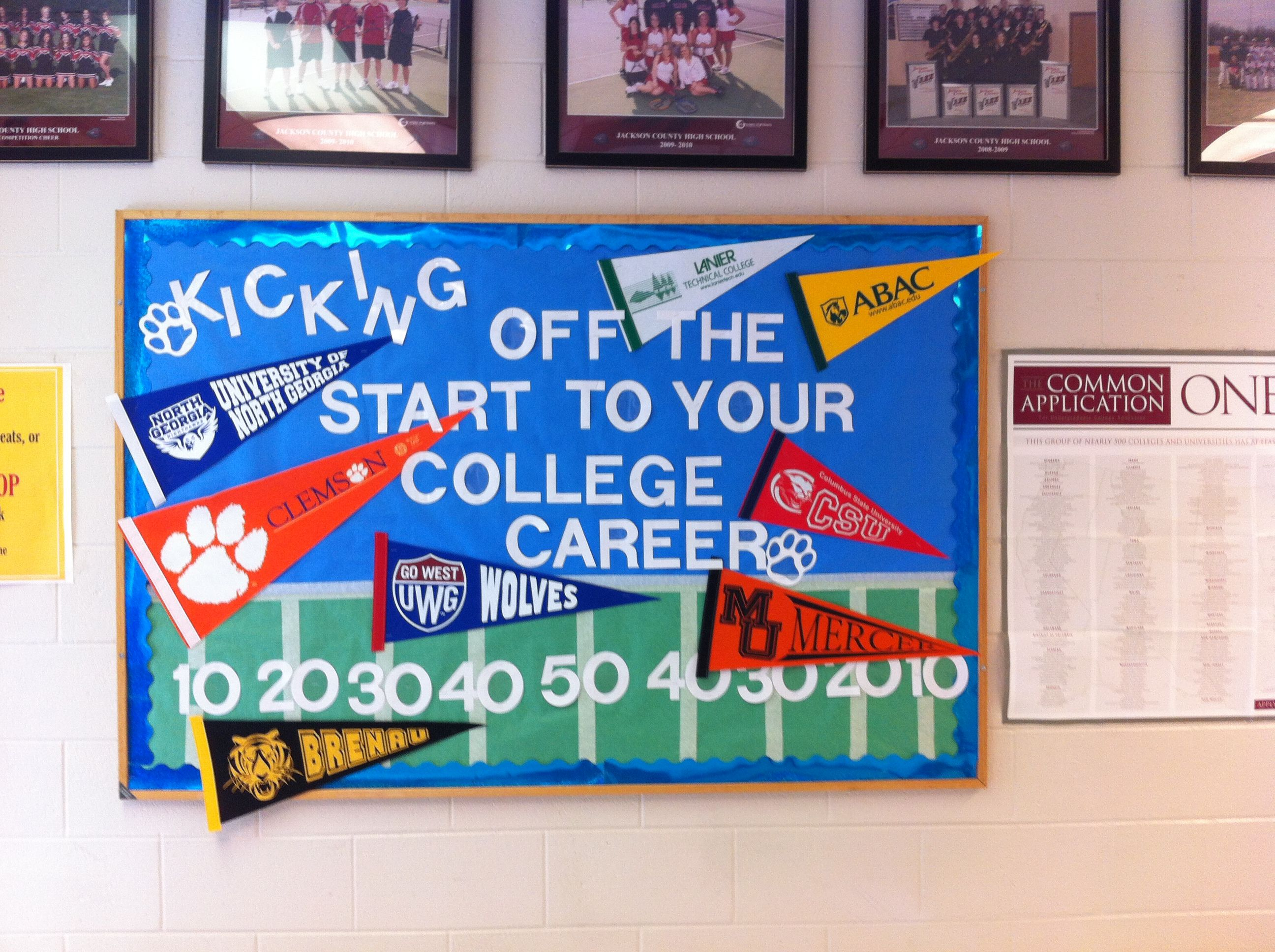 Kick off the Start to your College Career- High School Counseling ... for Notice Board Decoration Ideas For High School  70ref