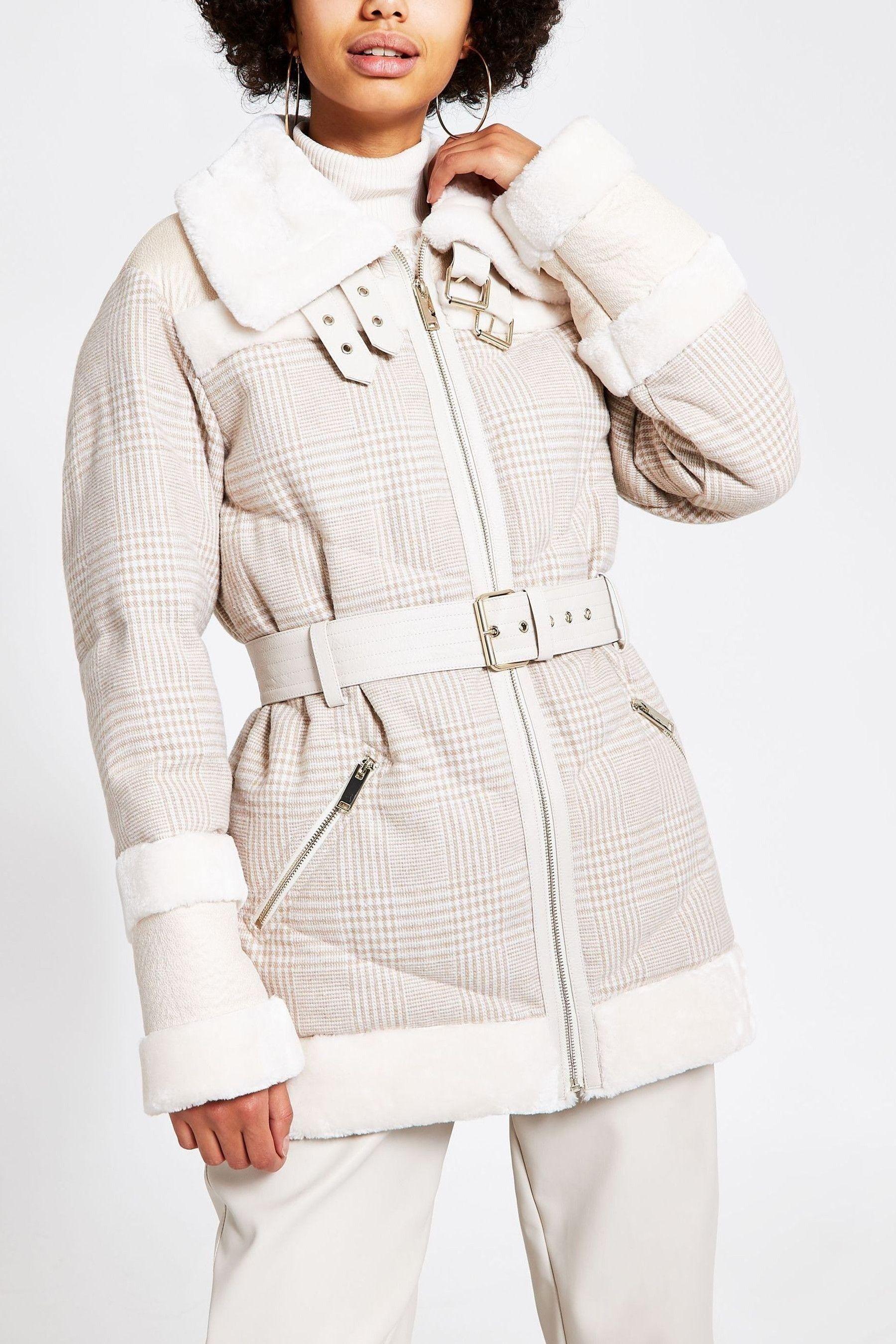 River Island Cream Woven Check Karina Hybrid Jacket in ...