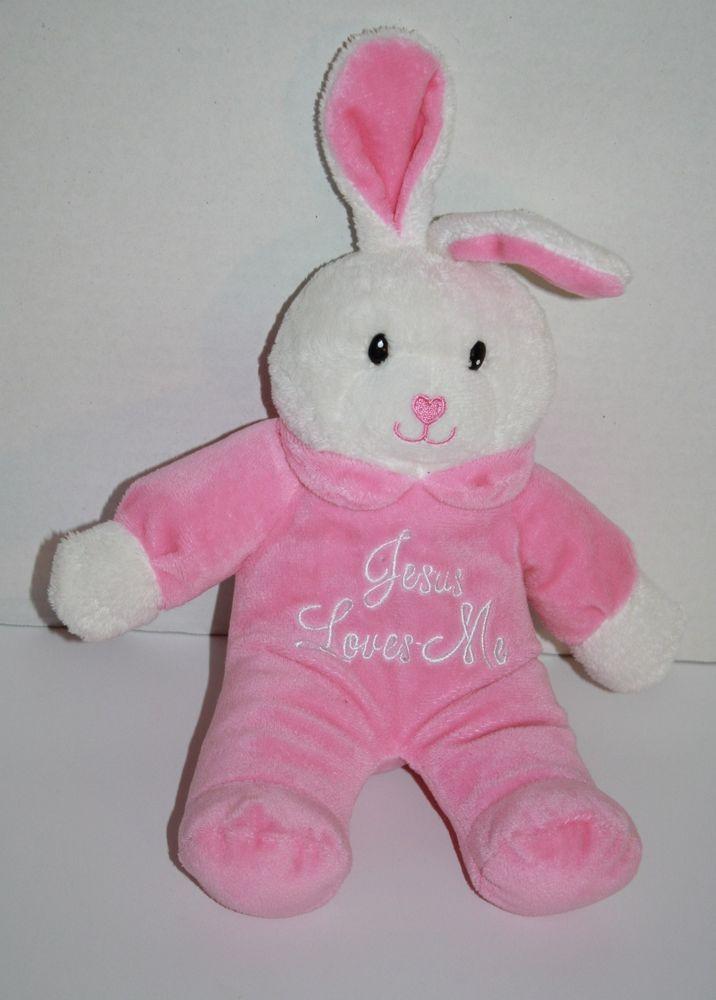 Bunny Pink White Face Sings Jesus Loves Me Plush Stuffed