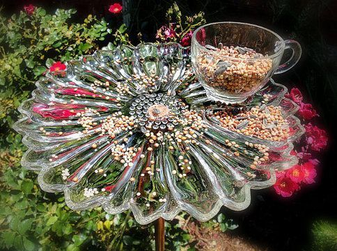 Vintage snack tray bird feeder is part of Upcycled garden Art -   Upcycled Garden Style