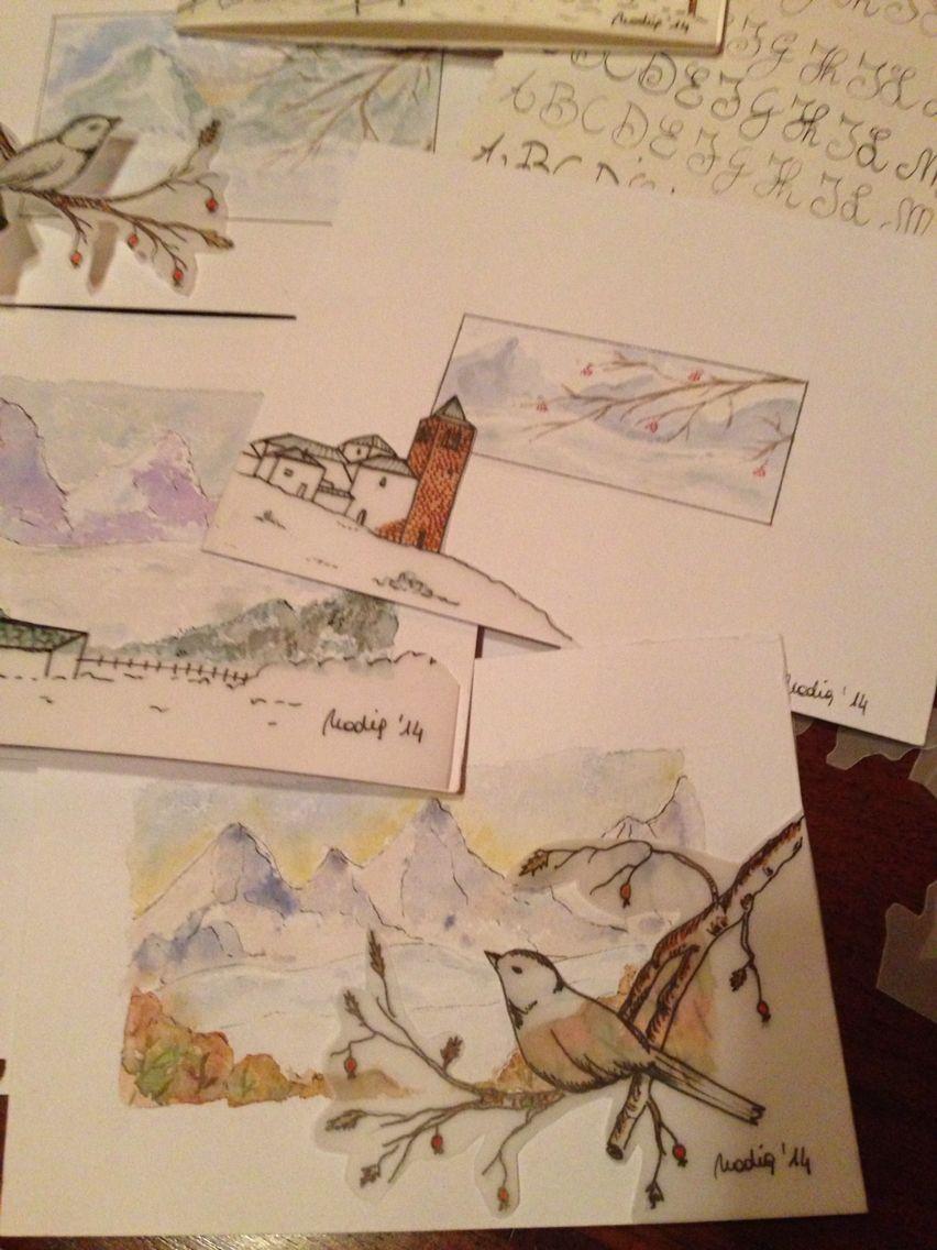 Postales watercolor Nadia