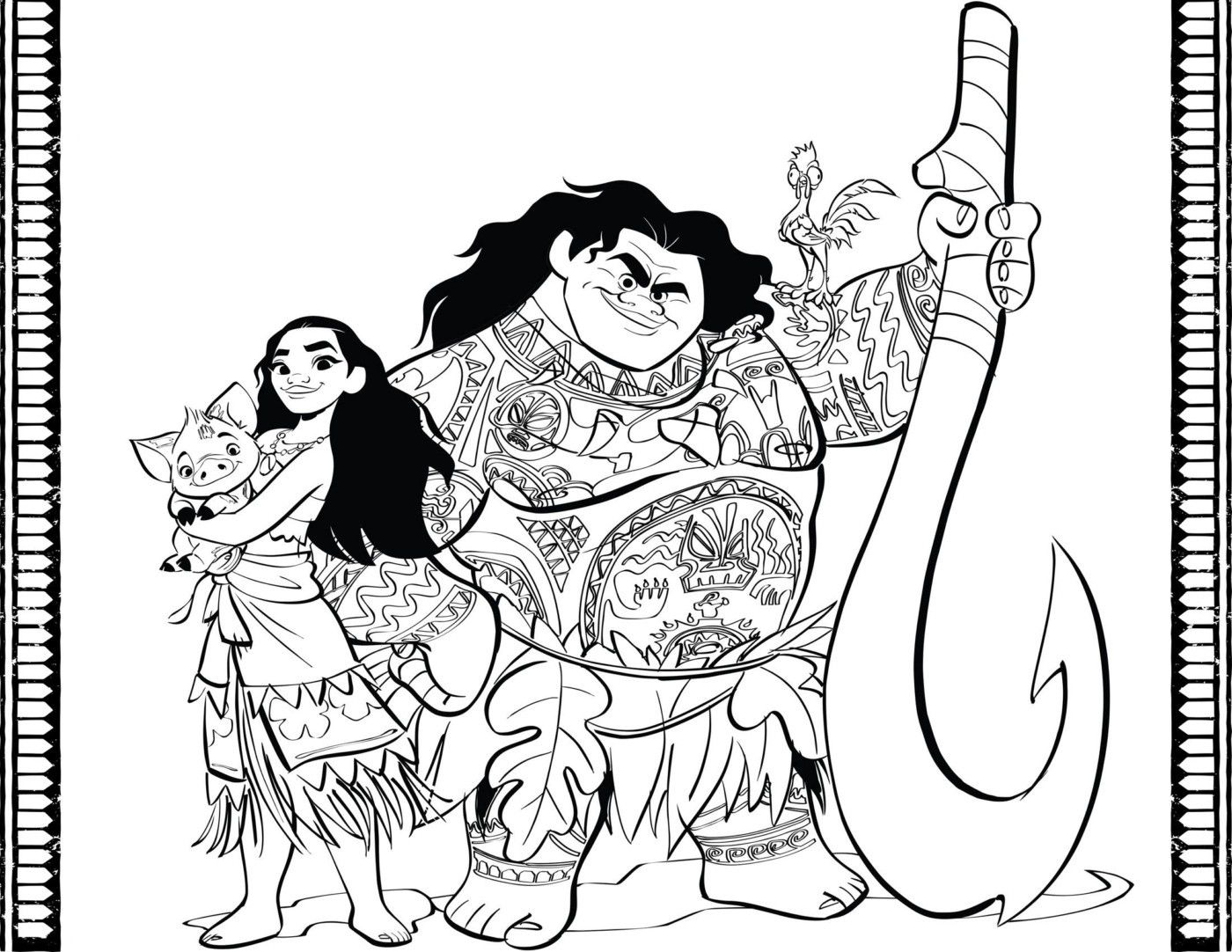 Vaiana Kleurplaat Vaiana Maui Pua Disney Pinterest Moana