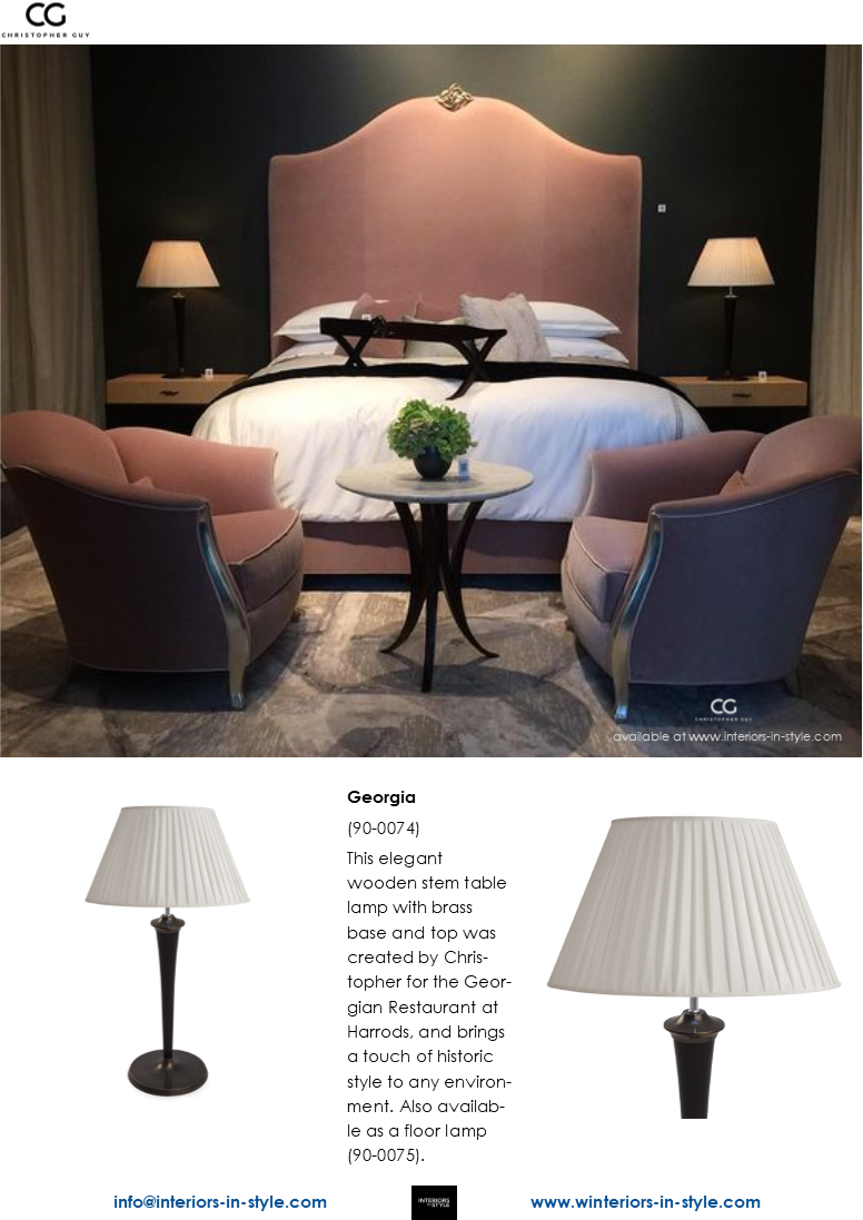 90 0074 Georgia This Elegant Wooden Stem Table Lamp With Brass