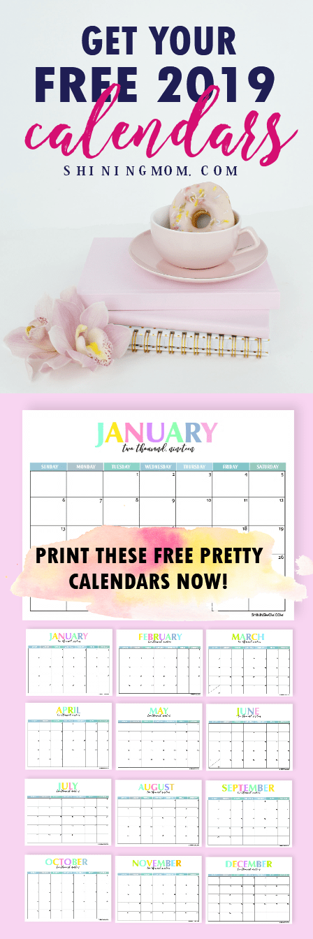 Free Printable 2019 Calendar: Beautiful and Colorful! | Pinterest ...