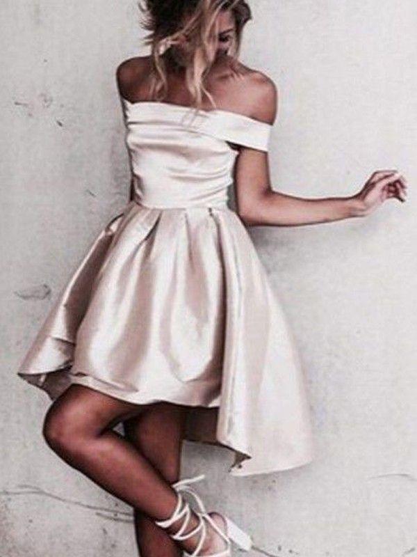b2a18da9206c A-Line/Princess Off-the-Shoulder Asymmetrical Cocktail Dresses With Ruffle