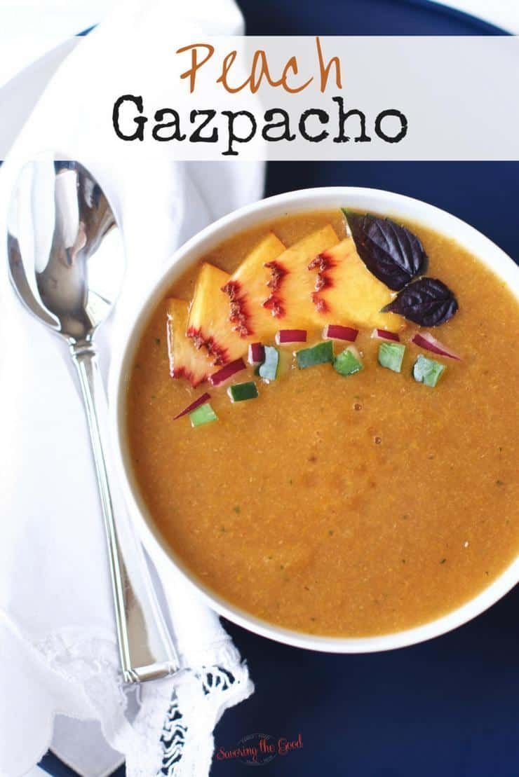 a refreshing cold summer soup that is a twist on the traditional tomato gazpacho soup. Simple ingredients make for a delicious cold soup that is sweet and satisfying for summer. Peach gazpacho is going to be your next favorite  a refreshing cold summer soup that is a twist on the traditional tomato gazpacho soup. Sim...