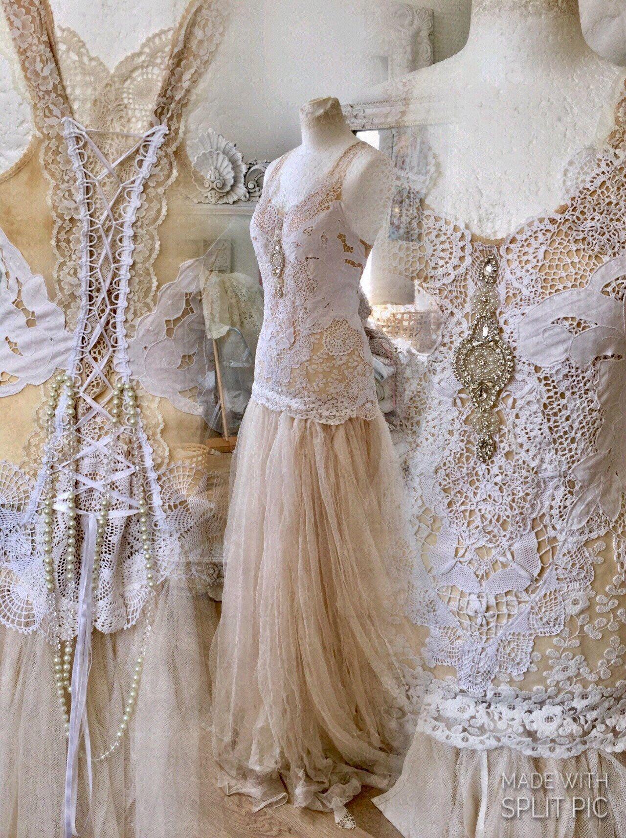 Bridal gown tea stainedwedding dress delicatebohemian wedding