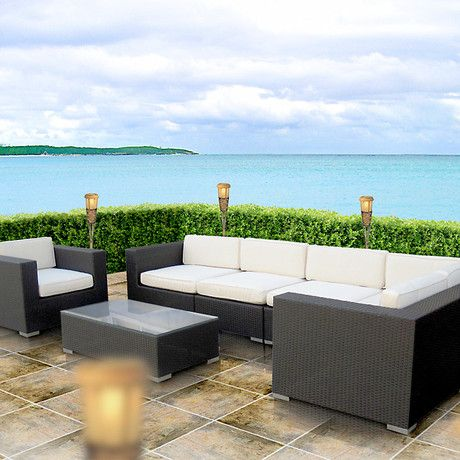 Modway Corona Outdoor Rattan, Espresso With White Cushion. Find This Pin  And More On Long Island Patio Furniture ...