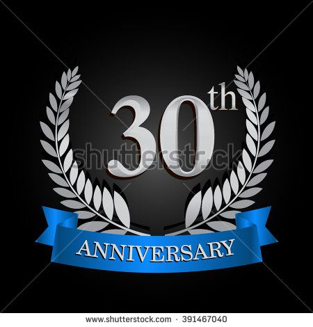 30th Anniversary Logo With Blue Ribbon 30 Years Anniversary Signs