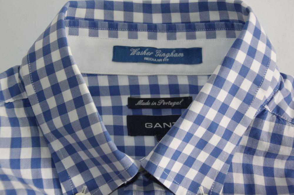 f023b45c5c5e6 Mens GANT WASHER GINGHAM Regular Fit Blue White Check Shirt size XXL ...