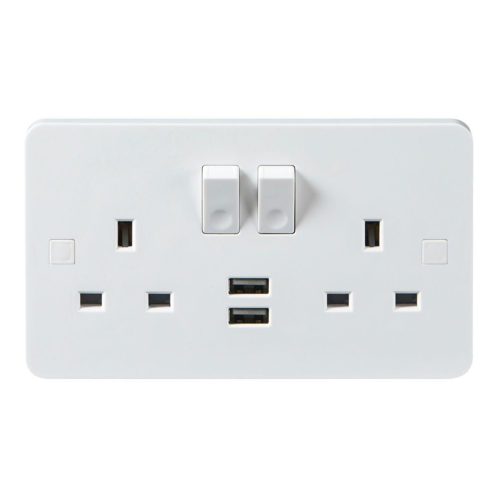Plug Switch Power Outlet Wall Charger 2 USB Port Double 2 Gang Plug Wall Socket