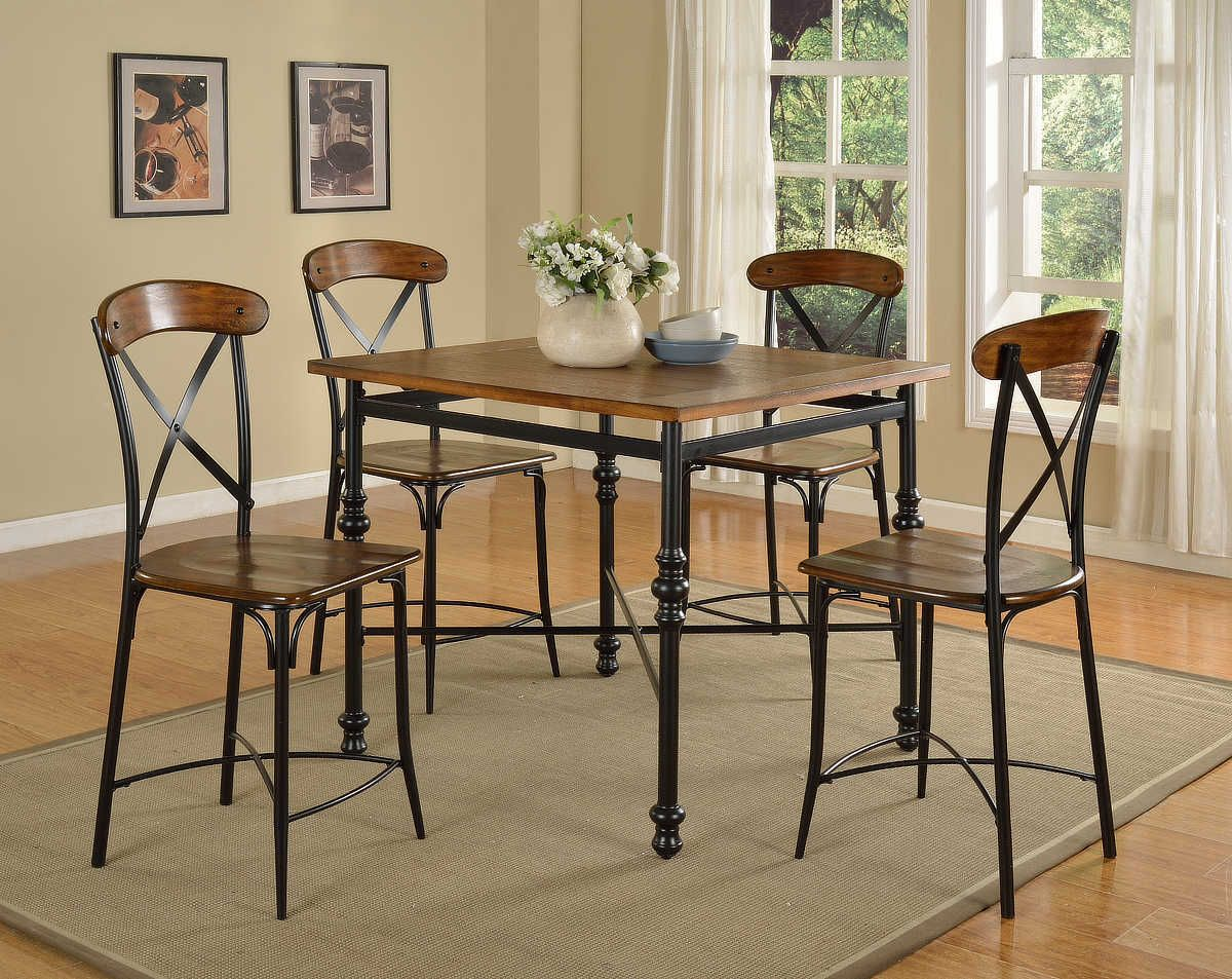 Lifestyle Dark Walnut and Metal Pub Dining Collection