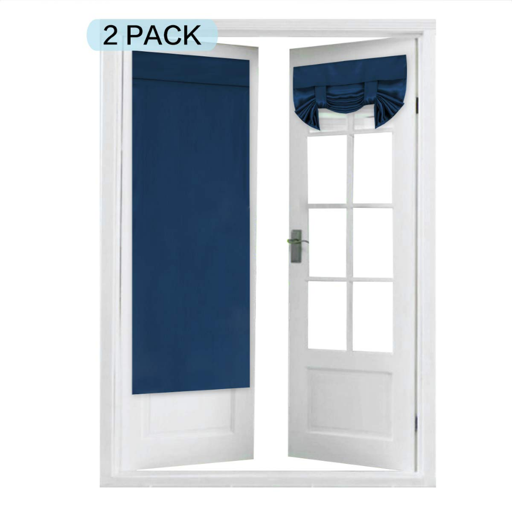 Amazon Com Blackout Curtain For French Door Tool Free Rod Pocket Thermal Insulated Curtain Pan French Door Curtain Panels French Door Curtains Panel Curtains