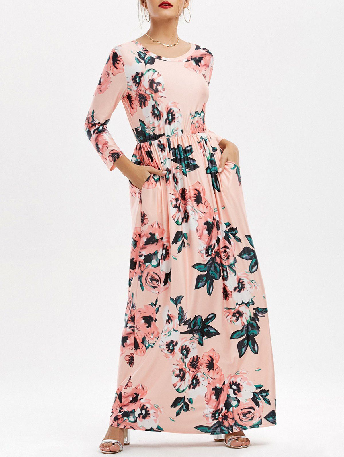 Floral pockets long dress in pink sammydress virtual