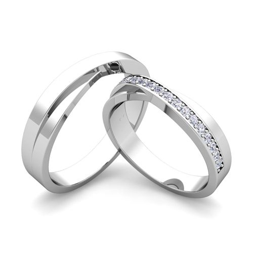 Custom Infinity Wedding Bands For Him And Her With Diamond Gemstone Diamond Wedding Rings Sets Sapphire Wedding Ring Set Wedding Ring Sets