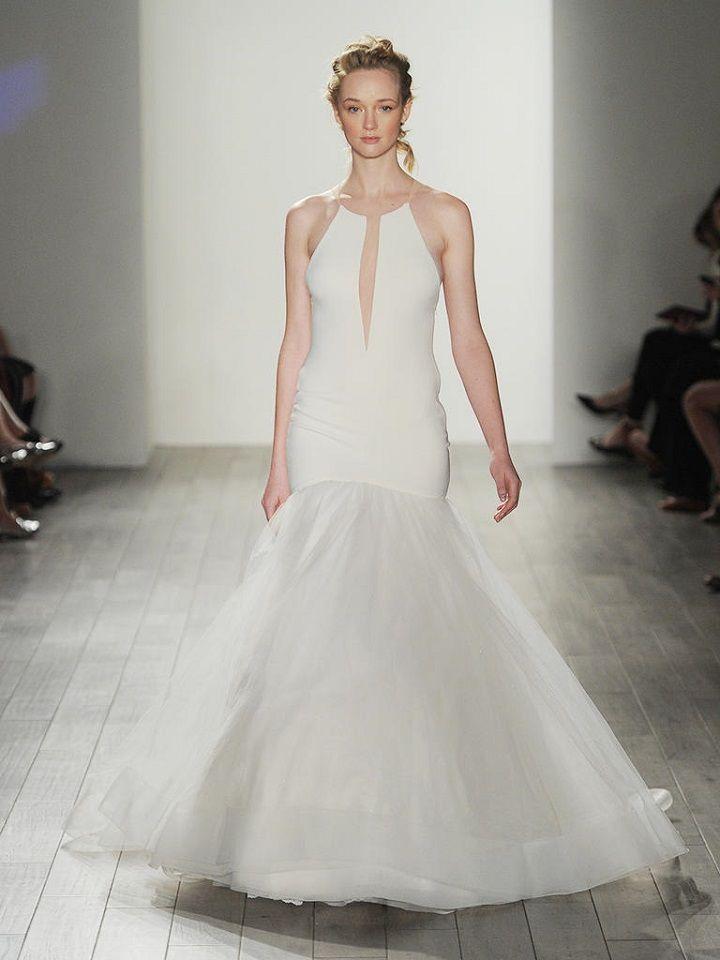 high halter neckline with deep cut-out wedding dress | itakeyou.co.uk #weddingdresses #weddingdress #lazaro #wedinggown
