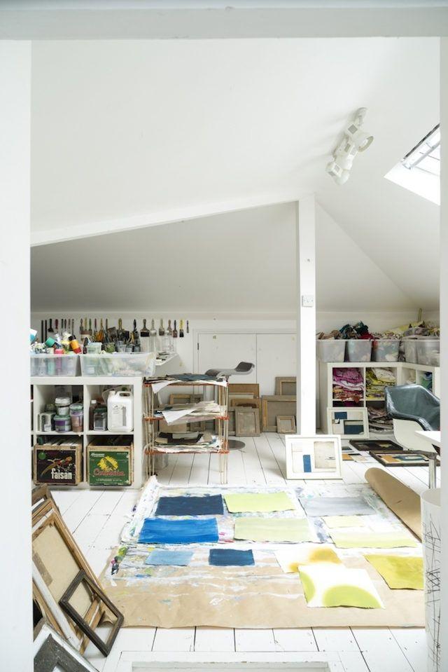 Juste une touche de vert Atelier, Artistes et Amenagement atelier