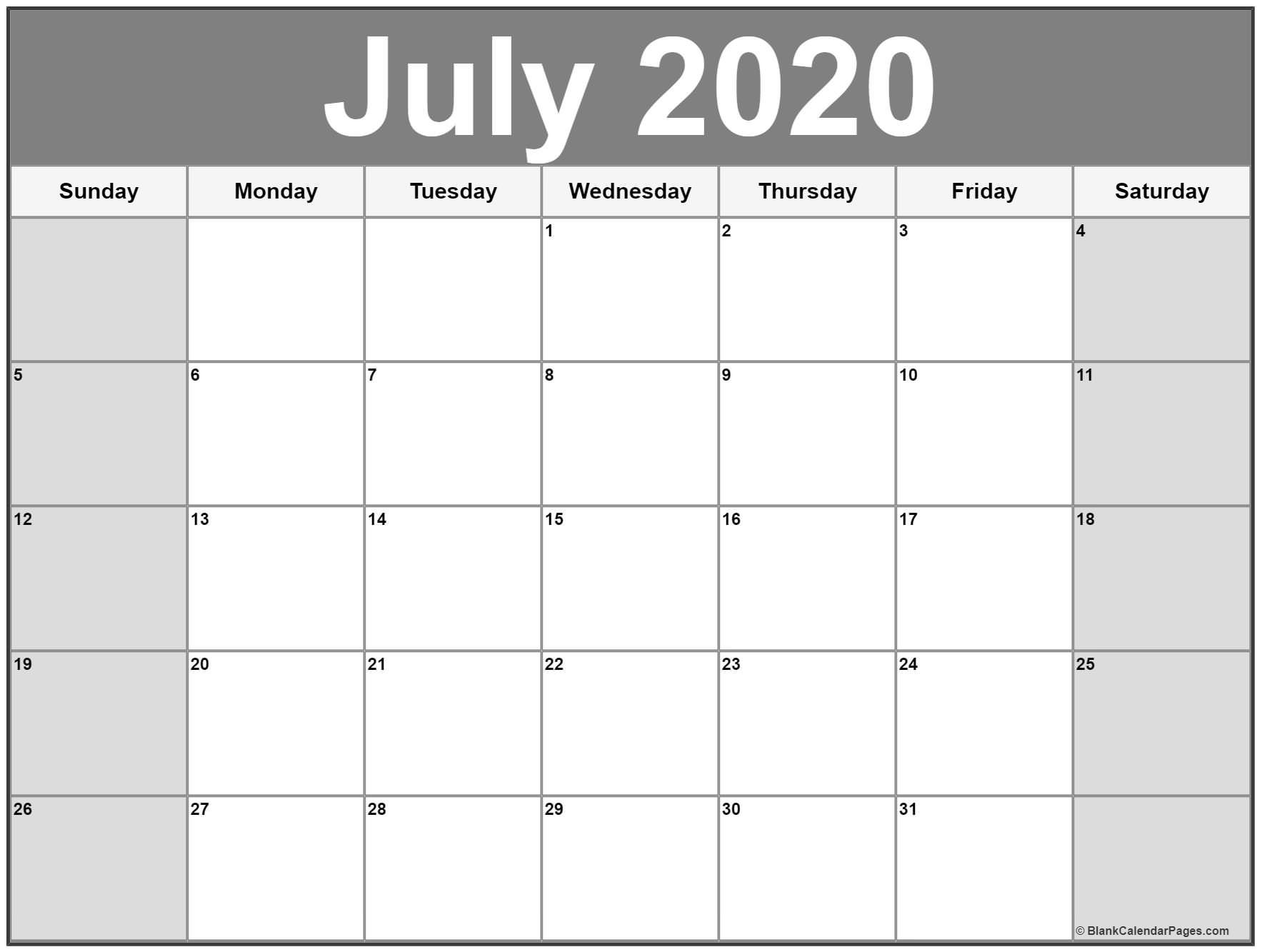 Printable Calendar July 2020.July 2020 Printable Calendar Template 2020calendars
