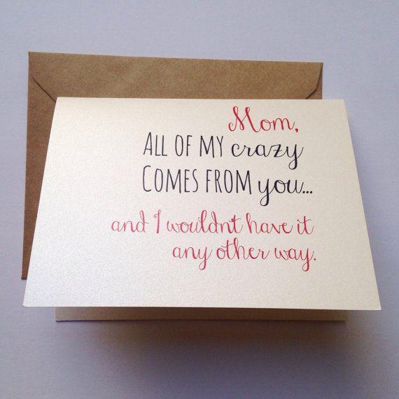Crazy Mom Card Mother S Day Card Mom Birthday Card Etsy Birthday Cards For Mom Mom Cards Funny Mom Birthday Cards