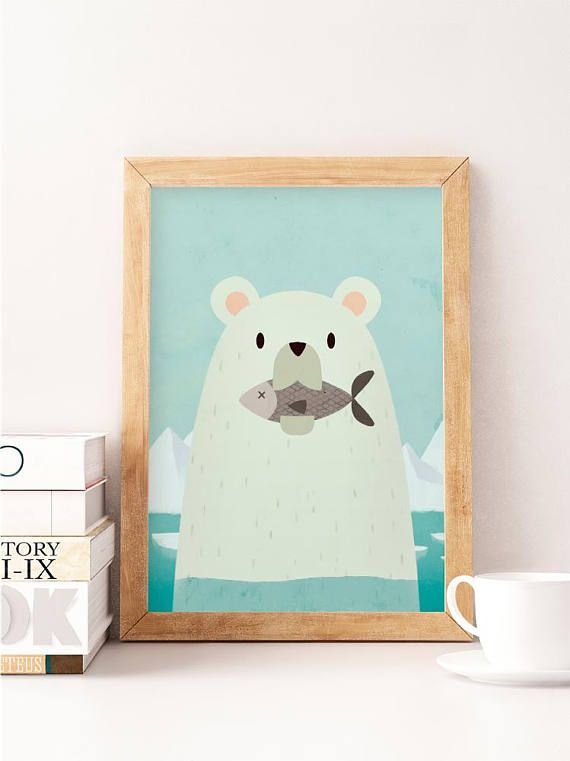 Polar Bear Print Nursery Animal Wall Art Prints Decor