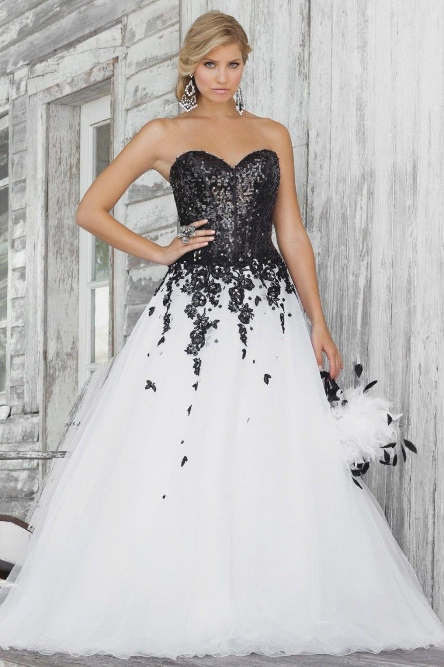 Black and White Corset Wedding Dresses