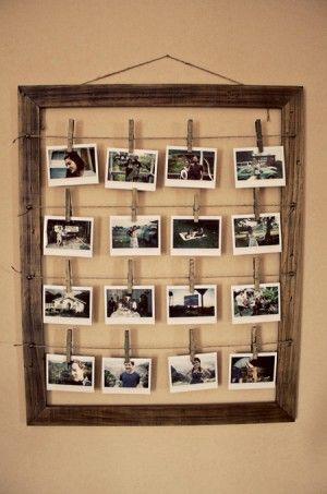 Elegant Bilderrahmen Zum Selber Machen. Klasse Idee. Einen Bilderrahmen Aus Altem Holz  Bauen Und Dann Fotos An Wäscheklammern Und Paketschnur Aufhängen.
