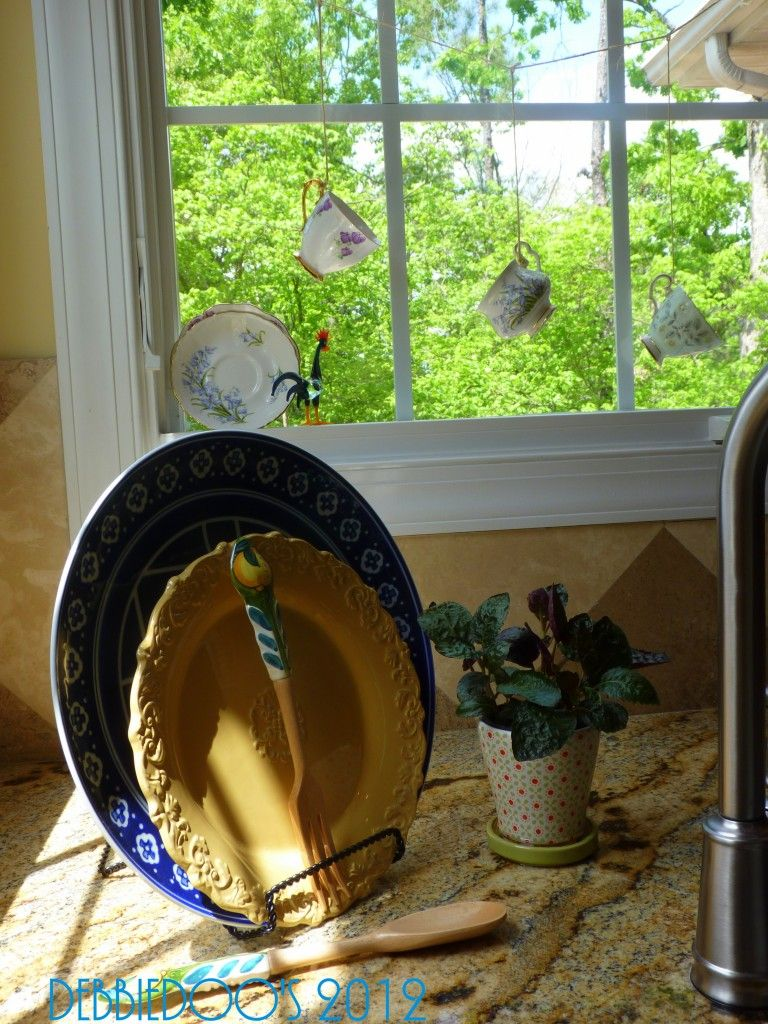 Country French Kitchen | Debbiedoo's Cute little teacups hanging