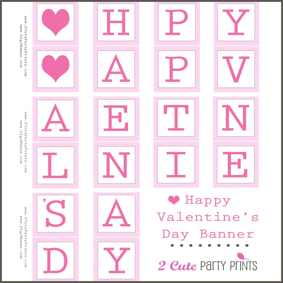 image regarding Happy Valentines Day Banner Printable identified as Joyful Valentines Working day Banner Printable - Digi-Mamas - Absolutely free