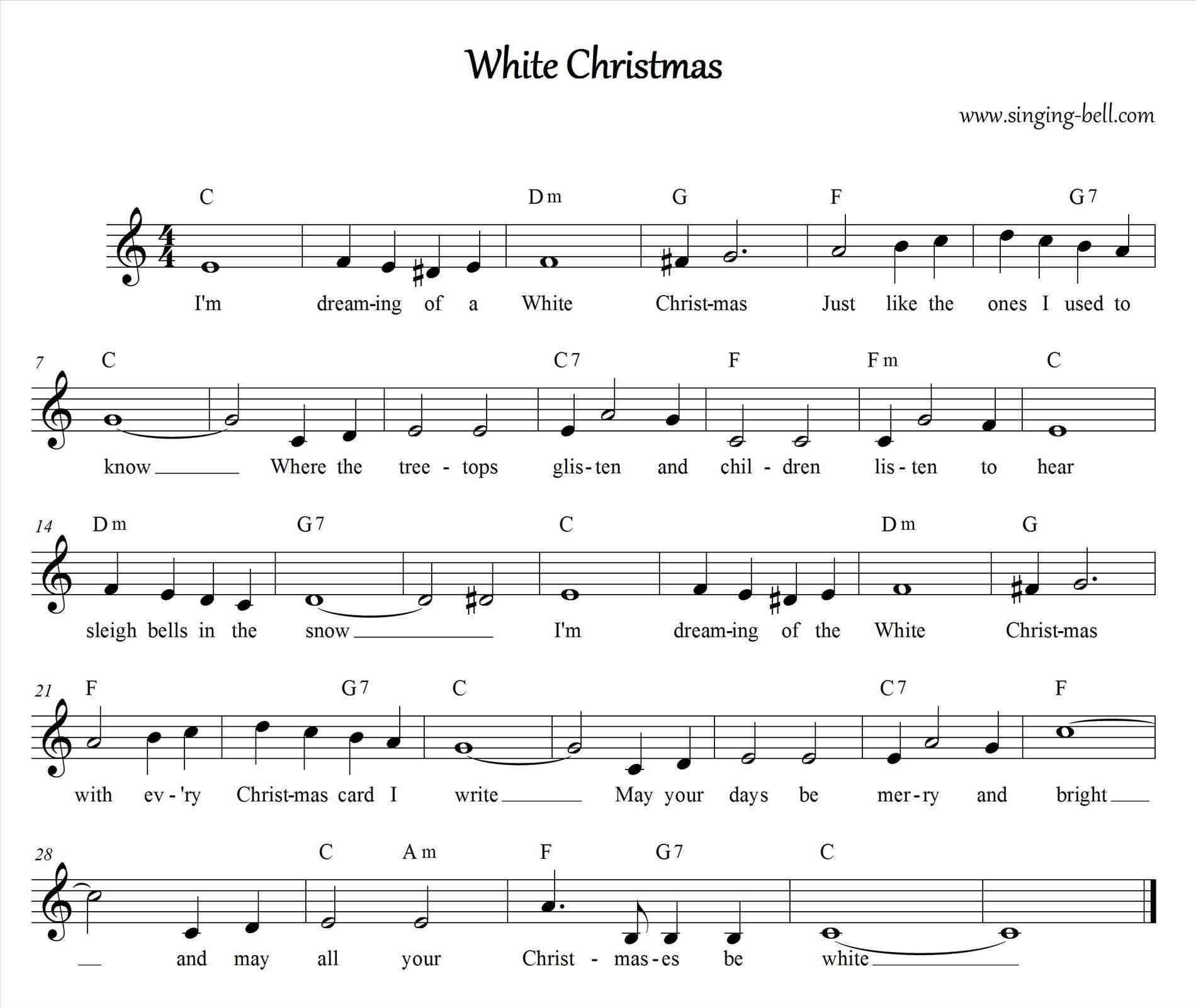 I M Dreaming Of A White Christmas Piano Sheet Music With Images