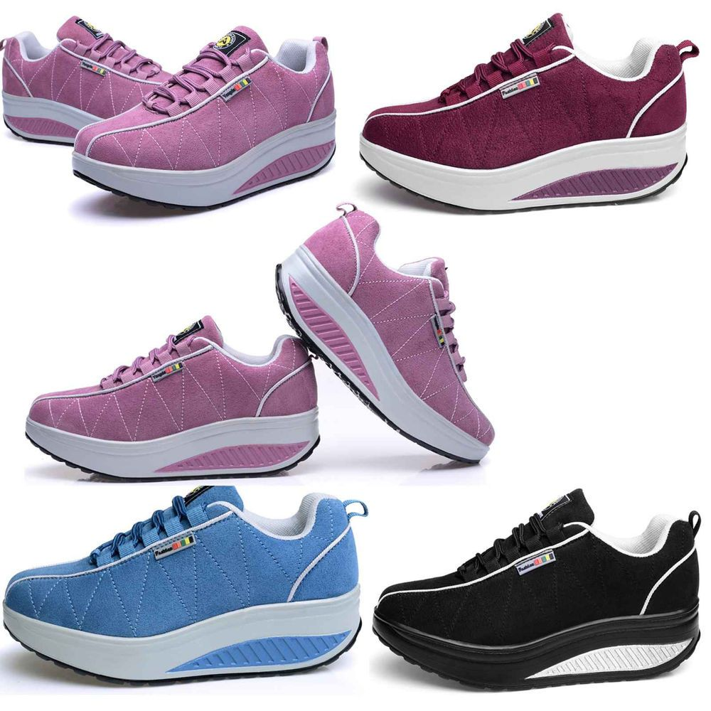 A Runner Shapes Up A Tired Staircase: New Womens Shape Ups Walking Sports Shoes Lace Up Sneaker