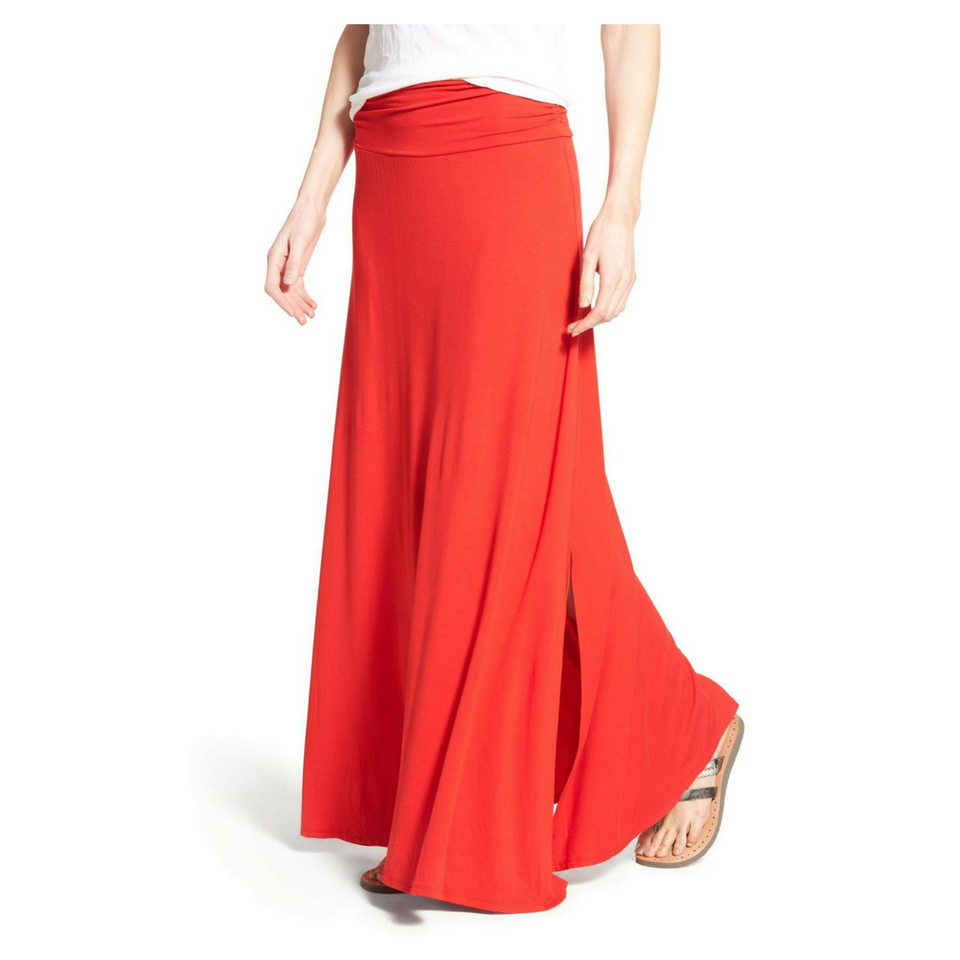 f3364f41955 Ruched Waist Side Slit Maxi Skirt