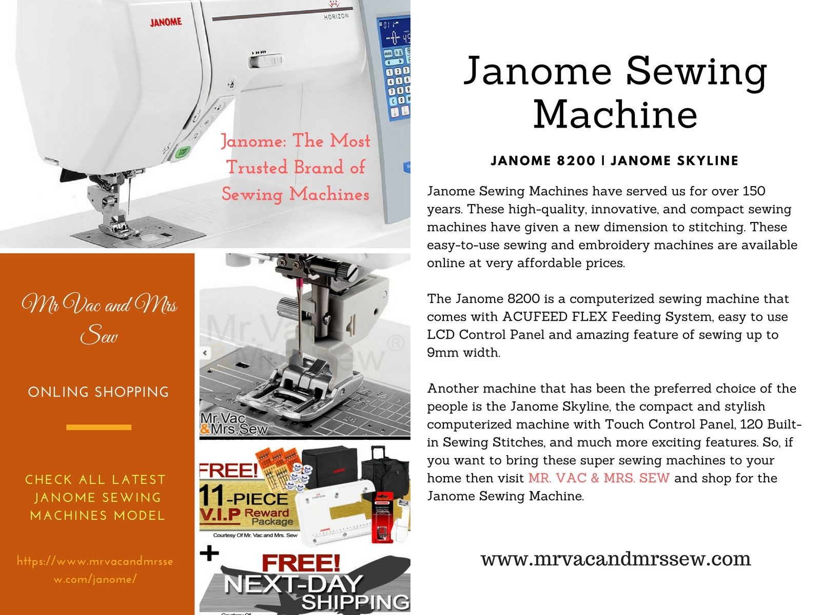 Looking For High Quality Janome Sewing Machines Visit Mr Vac Mrs Sew
