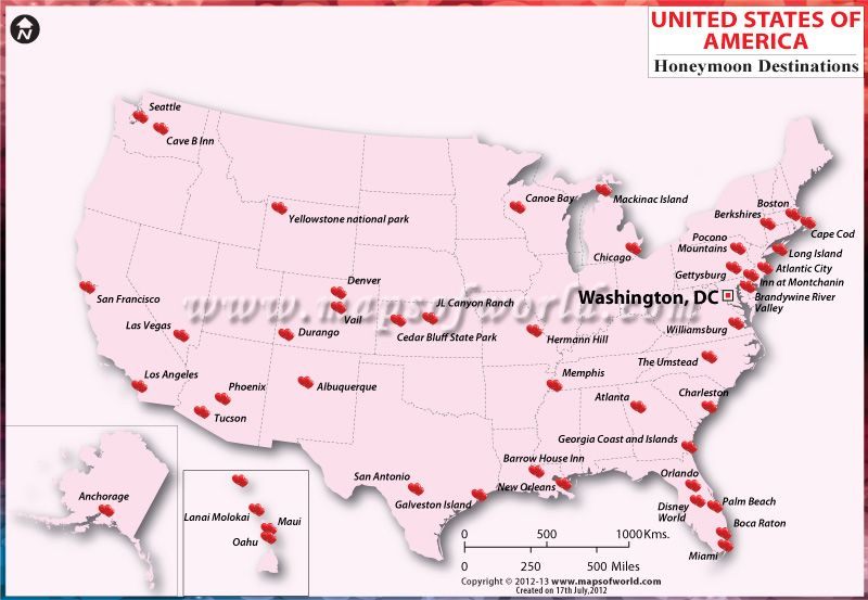 Map Showing Location Of Best Honeymoon Destinations In USA - Location of atlanta in usa map