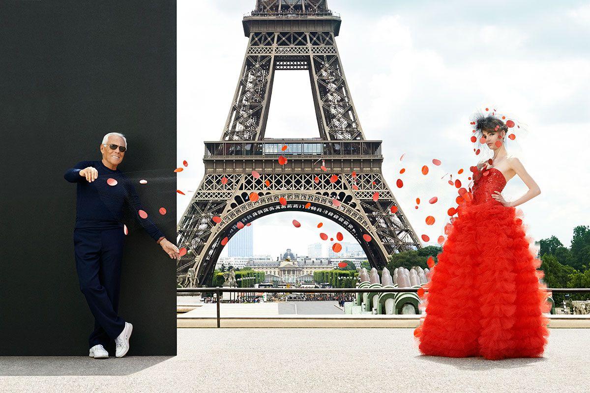 City of Love. The designer showcases a dress that's as monumental as the Eiffel Tower. #GiorgioArmani Privé dress and veil.