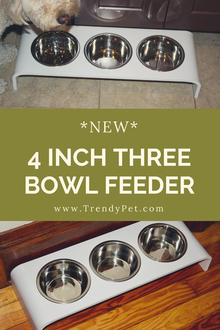 Triple Bowl Elevated Feeder Three 1 Quart Bowls