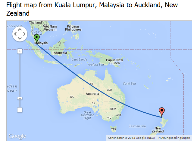 Flight Time from Kuala Lumpur, Malaysia to Auckland, New ...