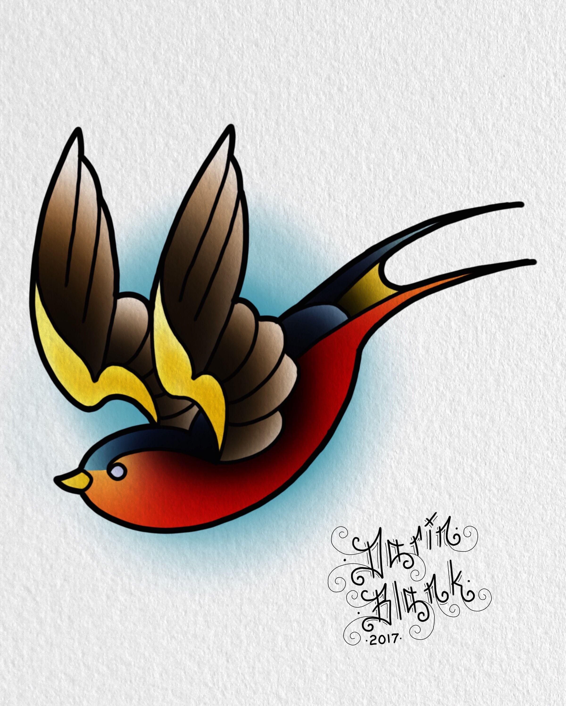 Traditional sparrow tattoo flash by Darin Blank. Instagram
