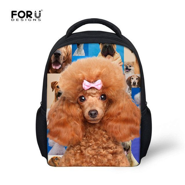 869558fb38cb Small School Bags for Kids Poodle Pug Dog Print Baby Girls Boys School Bags  Animal Kindergarten Book Bags Children Small Bags