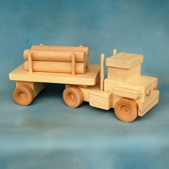 Wooden Toy Log Truck Jumbo Size Natural Wooden By
