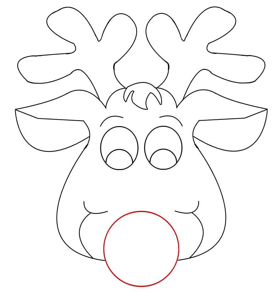 Rudolph reindeer face craft for coloring responses on for Reindeer cut out template