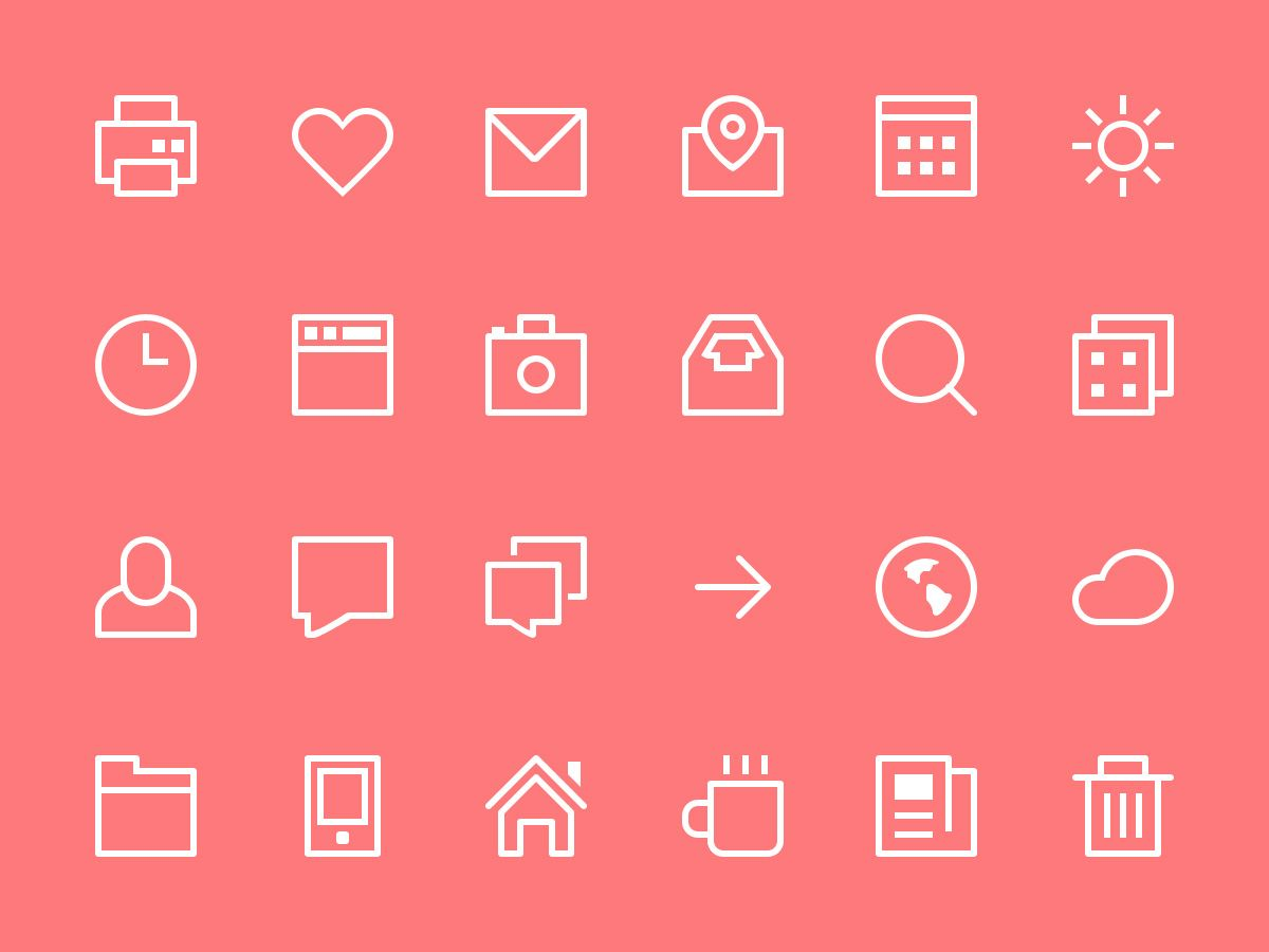 Thin Stroke Icons (PSD)